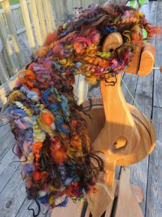 Handspun Yarn Art Yarn Lockspun Tailspun Bulky by RainbowTwistShop