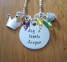 """Princess and the Frog Inspired Necklace. Tiana. """"Dig a Little Deeper"""".  Swarovski Elements crystals for women or girls. by WithLoveFromOC (item: 201591520)"""