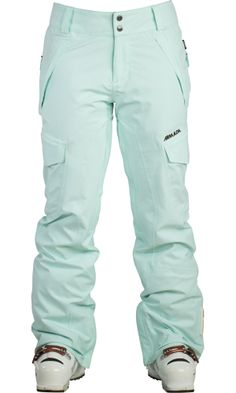 Love these mint colored ski pants