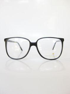 1970s Round Black Eyeglasses Horn Rim Vintage by OliverandAlexa