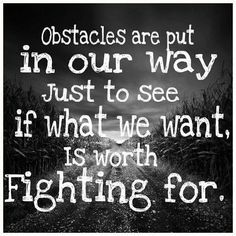 Obstacles are put in our way just to see if what we want is worth fighting for.