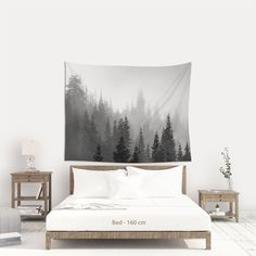Misty forest wall hanging fabric, Black and white Trees and fog for bohemian wall decor. (SHIPS from Europe). Fabric Wall Art, Hanging Fabric, Boho Wall Hanging, Tree Tapestry, Wall Tapestry, Black And White Tree, White Trees, Bohemian Wall Decor, Affordable Wall Art