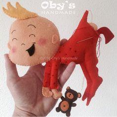 Bebè in feltro con cicogna, fiocco nascita personalizzato, Oby's handmade