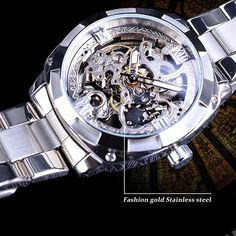 Automatic Hollowed Waterproof Men's Mechanical Watch Versace Logo, Mechanical Watch, Automatic Watch, Stainless Steel, Watches, Accessories, Wristwatches, Clocks, Mechanical Clock