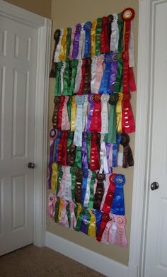 Where are my horse show friends? Sarah has been riding since she was four and showing since she was nine. Award Ribbon Display, Horse Ribbon Display, Horse Show Ribbons, Award Display, Display Ideas, Swim Ribbons, Ribbon Wall, Ribbon Quilt, Trophy Display