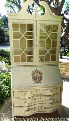 French Quarter Secretary desk stenciled with Maison d Stencils and reverse decoupage transfer. Chalk Paint Furniture, Find Furniture, Upcycled Furniture, Home Decor Furniture, Furniture Projects, Furniture Making, Vintage Furniture, Repurposed Desk, Painted Secretary Desks