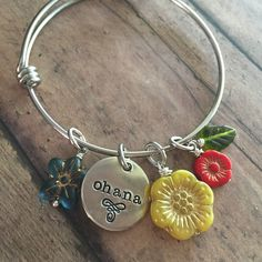 Ohana bangle with a bouquet of glass flower beads just added to my little shop this morning - aren't those colors just amazing!?!