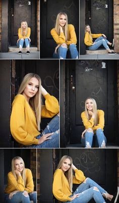 Black and Gold senior picture outfit Mustard sweater with distressed denim and black slipons Urban doorway location Iowa city senior photographer Jaimy Ellis