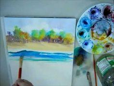Painting a Kauai Beach Scene in Watercolors http://www.youtube.com/user/PaintingParadise?feature=watch