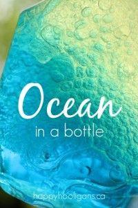 Ocean in a Bottle with 3 Simple Ingredients - Happy Hooligans art science craft tip for kids school Sensory Activities, Toddler Activities, Sensory Play, Projects For Kids, Diy For Kids, Science Projects, Crafts To Do, Crafts For Kids, Happy Hooligans