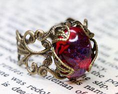 Jewelled Victorian Dragons Breath Glass Opal Filigree Ring