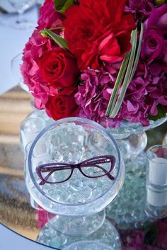 Salvatore Ferragamo eyewear table centerpieces. #Ferragamo #VisionExpoWest #LasVegas #Event #Bellagio #Eyewear