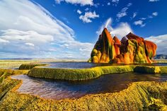 Fly Geyser, Nevada. Nestled on a patch of private land in Nevada's Black Rock Desert, the Fly Ranch Geyser (known commonly as the Fly Geyser) is one of the state's coolest attractions, though many residents still do not know it exists. Fly Geyser, which spews waters about five feet high, lies about a third of a mile from State Route 34, a road which functions as the only viewpoint since the geyser is not open to the public.
