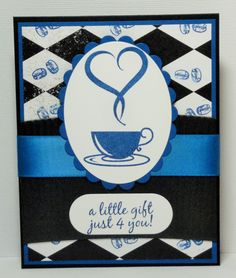 """the black across the card is a """"Coffee huggie"""" from Lasater's Coffee shop. The stamp set is Enjoy Coffee, the black & white paper I stamped the coffee beans with Huckleberry ink . Cardstock & ribbon are also Huckleberry. https://www.facebook.com/FunStampingwithKaren"""