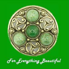 Celtic Knotwork Green Connemara Stones Antique Gold Plated Brooch