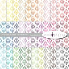Damask Digital Scrapbook Paper Pack    Rainbow by mooandpuppy  https://www.etsy.com/listing/101376072/damask-digital-scrapbook-paper-pack?ref=shop_home_active_5