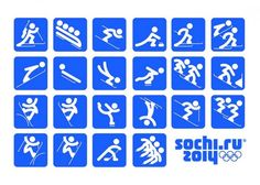 """Sochi 2014 Organizing Committee unveiled the pictograms of the 2014 Winter Olympic Games. The pictograms are based on those of the 1980 Summer Olympic Games in Moscow and, as the press release states, """"taking into account modern views. Winter Olympic Games, Winter Games, Winter Olympics, Olympic Medals, Olympic Sports, Olympic Icons, Design Web, Graphic Design, Theme Sport"""