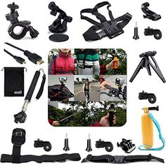 EEEKit 20-in-1 Professional Accessories Bundle Kit for Sony Action Cam HDR-AS15/AS20/AS30V/AS100V/Sony Action Cam HDR-AZ1 Mini Cameras, Adjustable Shoulder Belt Strap Mount + Helmet Strap Mount + Handheld Monopod Extendable Telescope Holder + Chest Belt Strap Mount + Floating Handheld Grip Mount Pole + Surface Quick Release Buckle + Micro HDMI to HDMI Cable 1.8m + Sunction Cup Mount + Suction Cup Pad + Adjustable Bike Handlebar Holder + Mount Adapter + Surface J-Hook + Long Screw Bolt