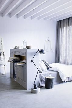 A Tuned Bed in a Dutch home I Remodelista Home Bedroom, Bedroom Decor, Bedroom Ideas, Bedroom Storage, Light Bedroom, Bedroom Setup, Gray Bedroom, Wall Storage, Modern Bedroom