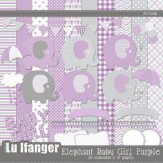 Kit Digital Elephant Baby Girl Purple by Lu Ifanger