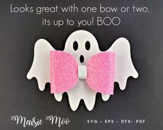 Halloween Hair Bows, Halloween Ghosts, Diy Bow, Diy Hair Bows, Bow Template, Templates, Ghost Template, Glitter Canvas, Cute Ghost