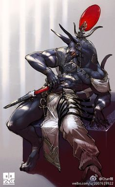 Anubis by Ryota Murayama Character Concept, Character Art, Concept Art, Fantasy Creatures, Mythical Creatures, Fundoshi, Monster Design, Creature Concept, Egyptian Art