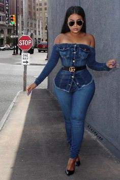 Shop The Look: Off the Shoulder Denim Top from Fashion Nova#denimvibes, High Waist Denim Jeans from Fashion Novause my code XOKRISTIN for 20% off! Summer Outfit Idea byKikirajx0