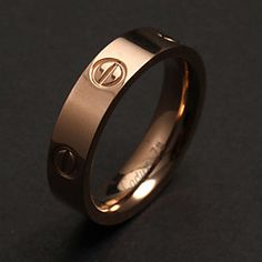 #Fashion Slotted Shape Women's Champagne Stainless Steel Band Rings(1 Pc)