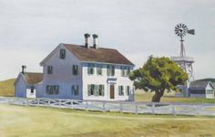"""""""Rich's House,"""" (North Truro), Edward Hopper, 1930, watercolor and charcoal on paper, 6 ¾ x 25 ¾"""", private collection."""