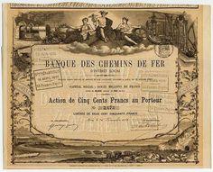 BANQUE DES CHEMINS DE FER Gründeraktie über frcs. 500 von 1869