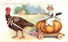 Thanksgiving Girl Chef Riding Pumpkin Coach