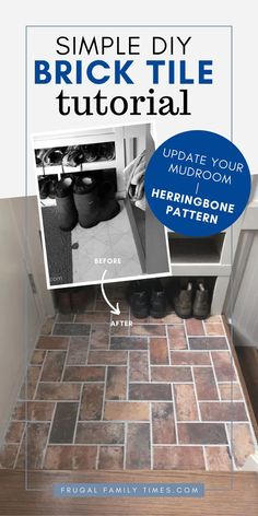 Mudroom flooring that looks fabulous - and stays on budget! Our DIY Brick Tile Floor is installed in a Herringbone Pattern. This brick tile is affordable and hardwearing - and hides so much dirt. Perfect for our back hallway mudroom. Luxury Vinyl Flooring, Best Flooring, Diy Flooring, Laminate Flooring, Hardwood Floors, Flooring Ideas, Brick Tile Floor, Frugal Family, Herringbone Pattern