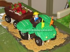 Homemade Tractor Cake: My son is obsessed with mow mows (aka tractors,) so I wanted to have a tractor-themed party for him, including the tractor cake. I was looking at his