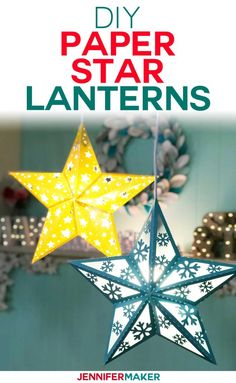 Make Paper Star Lanterns to Brighten Up Your Winter! - Jennifer Maker Make Paper Star Lanterns with Cut-Outs and Snowflakes on your Cricut Explore Make with my Free SVG Cut File 3d Paper Star, Paper Stars, 3d Paper Crafts, Paper Crafts For Kids, 3d Paper Projects, Foam Crafts, Paper Gifts, Kirigami, Paper Star Lanterns