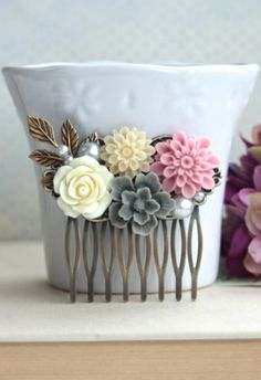 Ivory Rose, Grey Sakura, Pink Mum, Pearl, Brass Leaf Flower Hair Comb, Bridesmaids Gift, Pink and Grey Rustic Wedding.