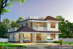 Cute sloping roof house 2680 square feet indian house plans, modern house d House Roof Design, Flat Roof House, Bungalow House Design, Small House Design, House Front, Model House Plan, Dream House Plans, Indian House Plans, House Design Pictures