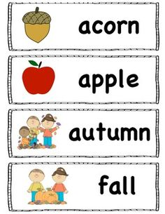 Worksheets Vocabulary Words For Kindergarten With Pictures freebie fall word wall words includes season halloween and 16 vocabulary for the pocket chart or wall