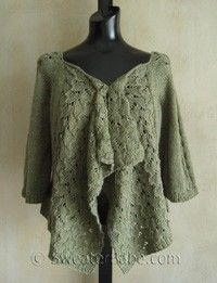#102 Drape-Front Top-Down Lace Cardigan PDF Knitting Pattern #knitting #SweaterBabe.com