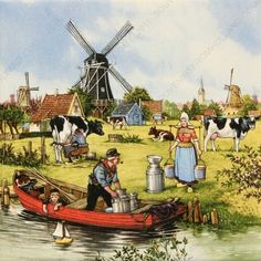 Delft Color Tiles - one of several I would put up in the kitchen backsplash. Holland Netherlands, Amsterdam Holland, Blue Tiles, Delft Tiles, Wow Art, Le Moulin, Pictures To Paint, Vintage Cards, Artist Art