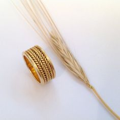 Wide Gold Wheat Ring Band for Women Handmade Braid Ring ⦁ Ethnic Gold Wedding Band ⦁ Israeli Designers Jewelry Gold Ring Designs, Wedding Ring Designs, Ring Design In Gold, Stacked Wedding Rings, Wedding Rings For Women, Wide Wedding Bands, Gold Rings Jewelry, Bridal Jewelry, Jewellery