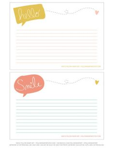 Hello & Smile Free printable Journaling Cards. Resize for project life.