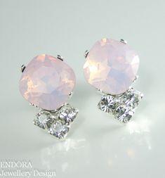 Pink opal crystal earrings | Pink bridal earrings | Pink wedding jewelry | #EndoraJewellery