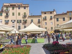 Market in Lucca, Tuscany, Italy