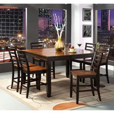 Furniture of America Isa Acacia and Espresso 7-piece Counter Height Dining Set