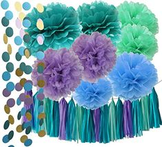 Under the Sea Party Supplies/Mermaid Decorations Teal Purple Blue Mint Tissue Pom Poms First Birthday Decorations Baby Shower Decorations Purple Mermaid Party Supplies/Mermaid Bridal Shower Decor - http://partysuppliesanddecorations.com/under-the-sea-party-supplies-mermaid-decorations-teal-purple-blue-mint-tissue-pom-poms-first-birthday-decorations-baby-shower-decorations-purple-mermaid-party-supplies-mermaid-bridal-shower-decor.html