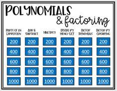 15 Polynomials Factoring Ideas Polynomials Algebra Algebra I