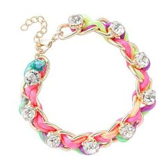 Chain And Crystal Neon Threaded Bracelet
