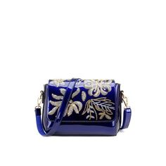 Magnetic Closure Sequins Flower Pattern Crossbody Bag (2,335 MKD) ❤ liked on Polyvore featuring bags, handbags, shoulder bags, blue crossbody, blue crossbody purse, floral purse, blue crossbody handbag and crossbody shoulder bag