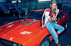 Hana Jirickova channels her inner tomboy for this editorial featured in the March 2016 issue of Vogue Russia. Photographed by Alexi Lubomirski… Car Editorial, Editorial Photography, Editorial Fashion, Fashion Photography, Denim Editorial, Car Photography, Fashion Shoot, Monkey Style, Races Fashion