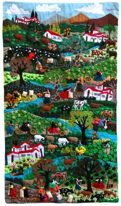 Really very hardwork , awesome ! I wonder how long did it take to complete ? arpillera -- always longed for one of these after seeing one in a friend's house when I was very small Wool Applique, Applique Quilts, Peruvian Art, Landscape Quilts, Creation Couture, Textile Artists, Fabric Art, Felt Crafts, American Art